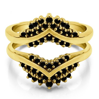 0.52 Ct. Black Stone Triple Row Prong Set Anniversary Ring Guard in Yellow Gold