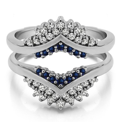 0.52 Ct. Sapphire and Diamond Triple Row Prong Set Anniversary Ring Guard