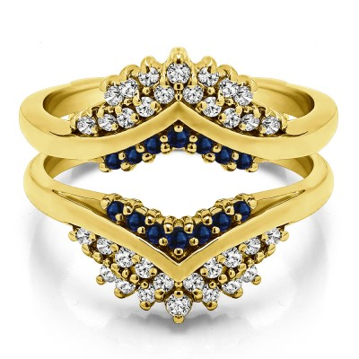 0.52 Ct. Sapphire and Diamond Triple Row Prong Set Anniversary Ring Guard in Yellow Gold