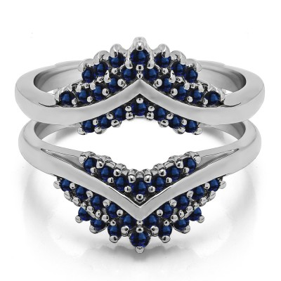 0.52 Ct. Sapphire Triple Row Prong Set Anniversary Ring Guard
