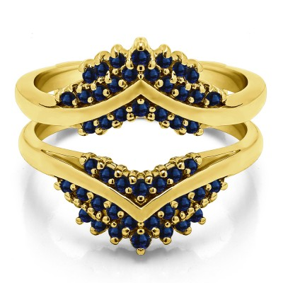 0.52 Ct. Sapphire Triple Row Prong Set Anniversary Ring Guard in Yellow Gold