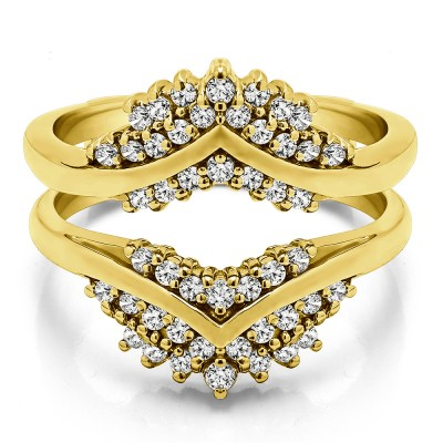 0.52 Ct. Triple Row Prong Set Anniversary Ring Guard in Yellow Gold