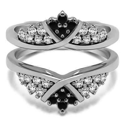 0.52 Ct. Black and White Stone X Bypass Triple Row Anniversary Ring Guard