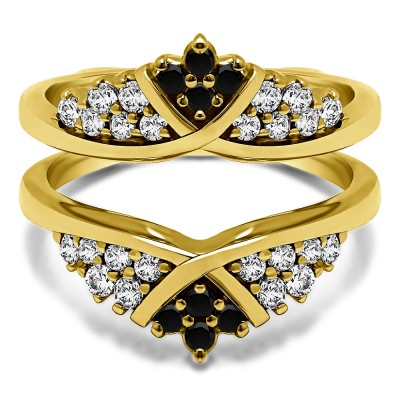 0.52 Ct. Black and White Stone X Bypass Triple Row Anniversary Ring Guard in Yellow Gold