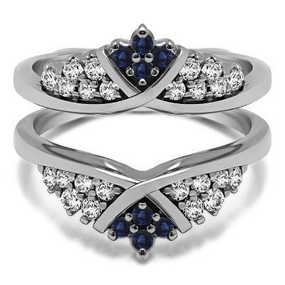 0.52 Ct. Sapphire and Diamond X Bypass Triple Row Anniversary Ring Guard