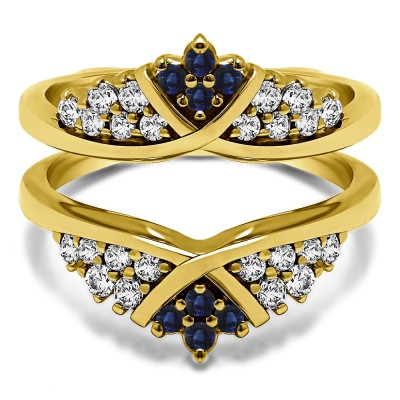 0.52 Ct. Sapphire and Diamond X Bypass Triple Row Anniversary Ring Guard in Yellow Gold