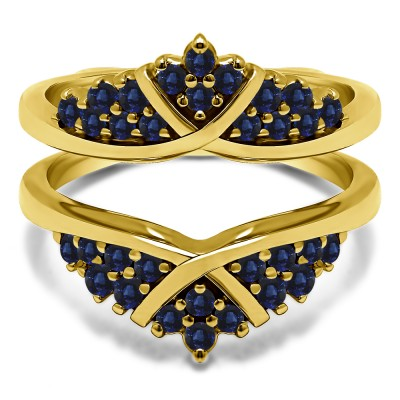 0.52 Ct. Sapphire X Bypass Triple Row Anniversary Ring Guard in Yellow Gold