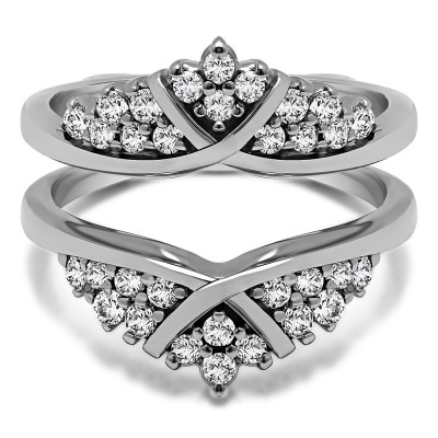 0.52 Ct. X Bypass Triple Row Anniversary Ring Guard