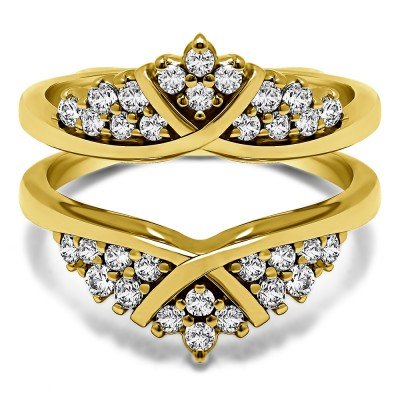 0.52 Ct. X Bypass Triple Row Anniversary Ring Guard in Yellow Gold