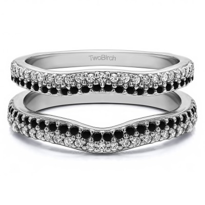 0.51 Ct. Black and White Stone Round Double Row Pave Set Curved Ring Guard