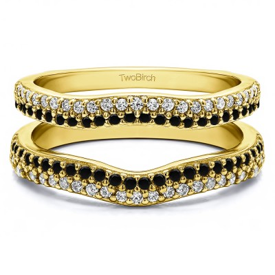 0.51 Ct. Black and White Stone Round Double Row Pave Set Curved Ring Guard  in Yellow Gold