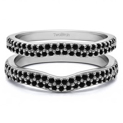 0.51 Ct. Black Stone Round Double Row Pave Set Curved Ring Guard