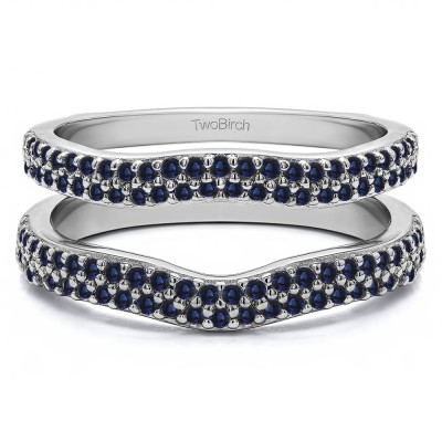 0.51 Ct. Sapphire Round Double Row Pave Set Curved Ring Guard