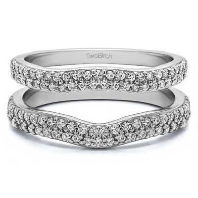 0.51 Ct. Round Double Row Pave Set Curved Ring Guard