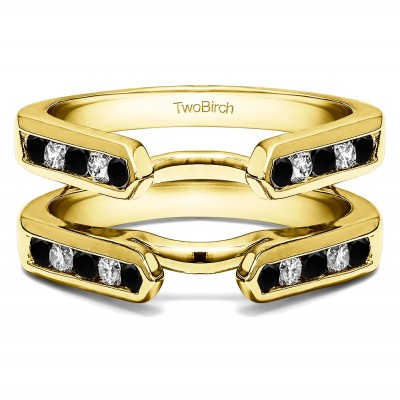 0.24 Ct. Black and White Stone Princess Cut Channel Cathedral Ring Guard in Yellow Gold