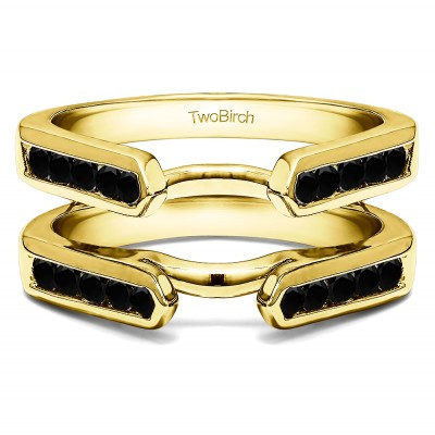 0.24 Ct. Black Stone Princess Cut Channel Cathedral Ring Guard in Yellow Gold