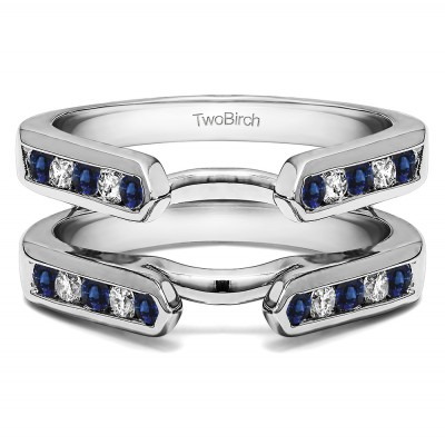 0.24 Ct. Sapphire and Diamond Princess Cut Channel Cathedral Ring Guard