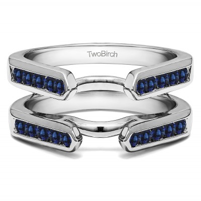 0.24 Ct. Sapphire Princess Cut Channel Cathedral Ring Guard