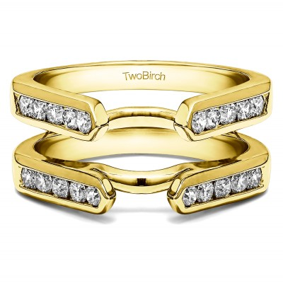 0.24 Ct. Princess Cut Channel Cathedral Ring Guard in Yellow Gold