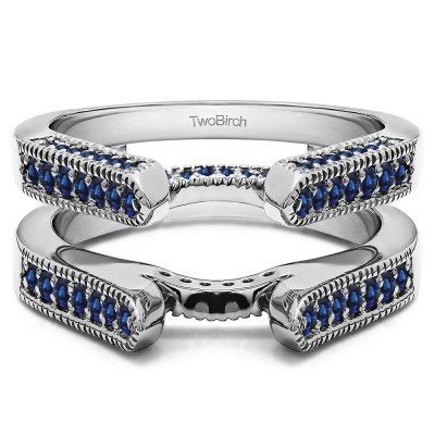 0.55 Ct. Sapphire Millgrained Round Cathedral Ring Guard