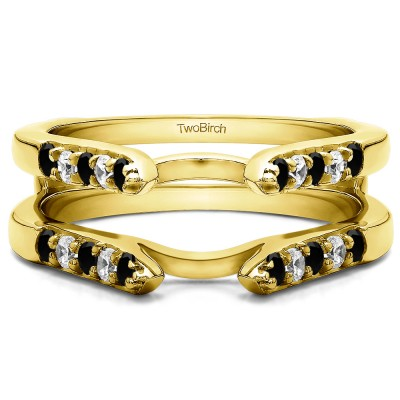 0.3 Ct. Black and White Stone Cathedral Round Shared Prong Ring Guard in Yellow Gold