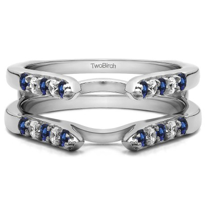 0.3 Ct. Sapphire and Diamond Cathedral Round Shared Prong Ring Guard