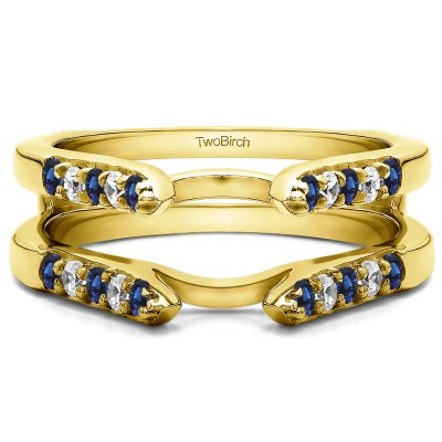 0.3 Ct. Sapphire and Diamond Cathedral Round Shared Prong Ring Guard in Yellow Gold