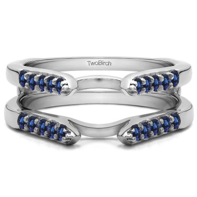 0.3 Ct. Sapphire Cathedral Round Shared Prong Ring Guard