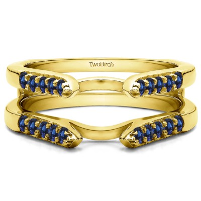 0.3 Ct. Sapphire Cathedral Round Shared Prong Ring Guard in Yellow Gold