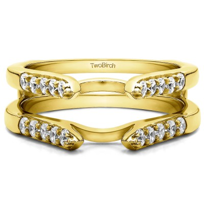 0.3 Ct. Cathedral Round Shared Prong Ring Guard in Yellow Gold