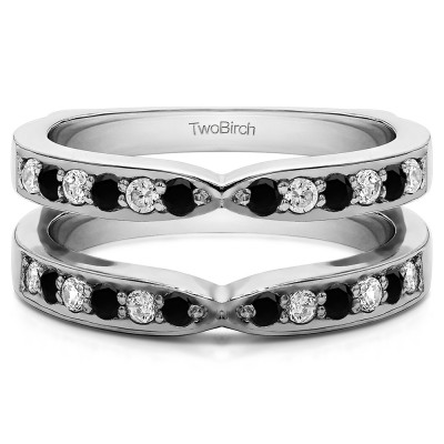 0.36 Ct. Black and White Stone X Shared Prong Jacket Ring Guard