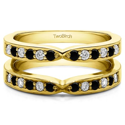 0.36 Ct. Black and White Stone X Shared Prong Jacket Ring Guard in Yellow Gold