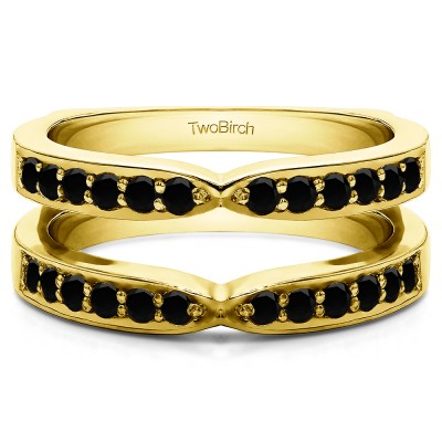 0.36 Ct. Black Stone X Shared Prong Jacket Ring Guard in Yellow Gold