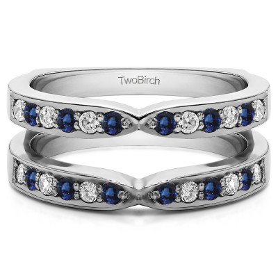 0.36 Ct. Sapphire and Diamond X Shared Prong Jacket Ring Guard