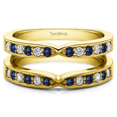 0.36 Ct. Sapphire and Diamond X Shared Prong Jacket Ring Guard in Yellow Gold