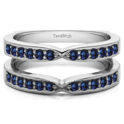 0.36 Ct. Sapphire X Shared Prong Jacket Ring Guard