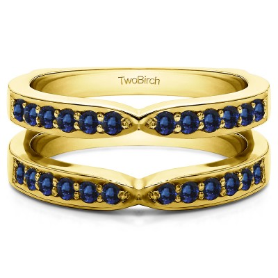 0.36 Ct. Sapphire X Shared Prong Jacket Ring Guard in Yellow Gold