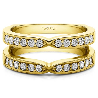0.36 Ct. X Shared Prong Jacket Ring Guard in Yellow Gold