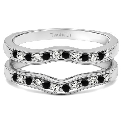 0.14 Ct. Black and White Stone Contour Prong In Channel Set Enhancer Ring Guard