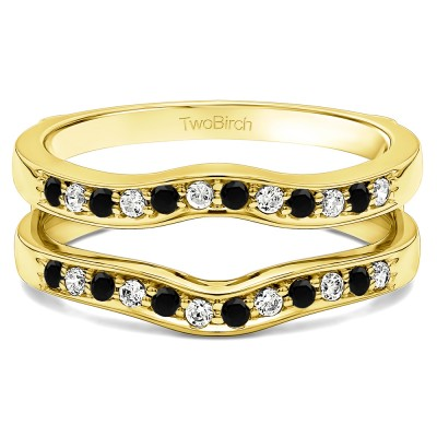 0.14 Ct. Black and White Stone Contour Prong In Channel Set Enhancer Ring Guard in Yellow Gold