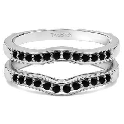 0.14 Ct. Black Stone Contour Prong In Channel Set Enhancer Ring Guard