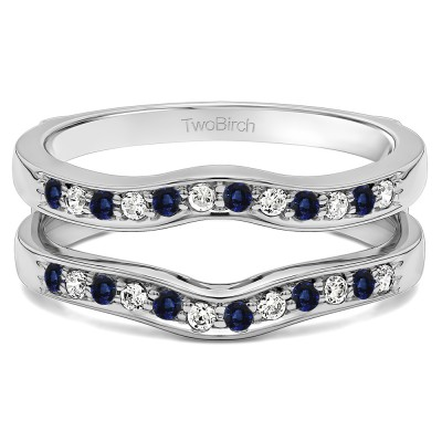 0.14 Ct. Sapphire and Diamond Contour Prong In Channel Set Enhancer Ring Guard