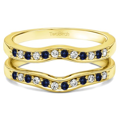 0.14 Ct. Sapphire and Diamond Contour Prong In Channel Set Enhancer Ring Guard in Yellow Gold