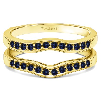 0.14 Ct. Sapphire Contour Prong In Channel Set Enhancer Ring Guard in Yellow Gold