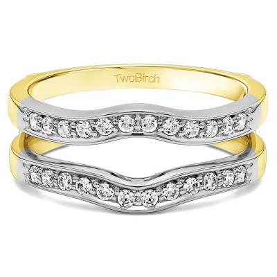 1.4 Ct. Contour Prong In Channel Set Enhancer Ring Guard in Two Tone Gold