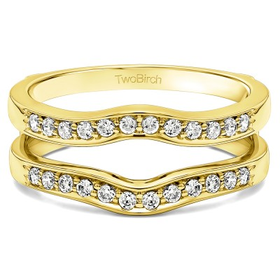0.14 Ct. Contour Prong In Channel Set Enhancer Ring Guard in Yellow Gold