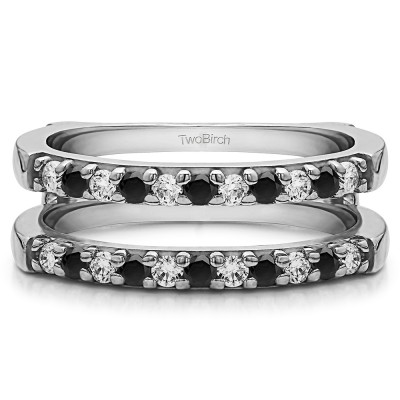 0.51 Ct. Black and White Stone Double Shared Prong Straight Ring Guard