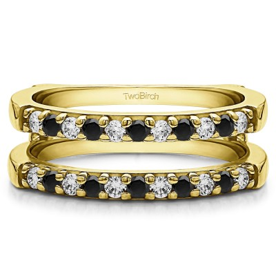 0.51 Ct. Black and White Stone Double Shared Prong Straight Ring Guard in Yellow Gold