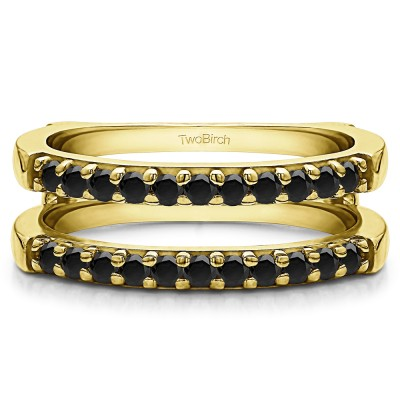 0.51 Ct. Black Stone Double Shared Prong Straight Ring Guard in Yellow Gold