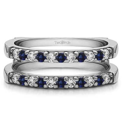 0.51 Ct. Sapphire and Diamond Double Shared Prong Straight Ring Guard